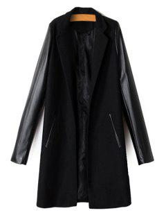 PU Leather Spliced Long Sleeve Coat - Black M