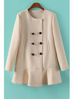 Solid Color Ruffles Long Sleeve Coat - Off-white M