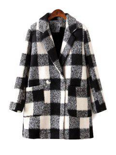 Plaid Lapel Long Sleeve Coat - White S