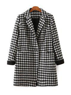 Houndstooth Lapel Long Sleeve Coat - White And Black L