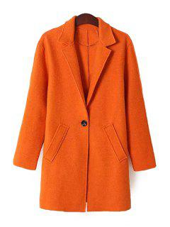Solid Color Lapel Neck Coat - Orange L