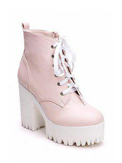 Simple Style Women's Boots With Chunky Heel And Platform Design - Pink 35