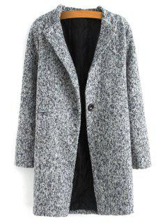 Color Mixed Long Sleeve Worsted Coat - Gray 3xl