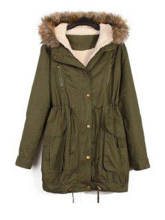 Faux Fur Splicing Hooded Coat - Army Green L