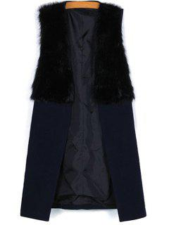 Faux Fur Splicing Sleeveless Waistcoat - Black M