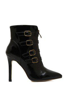 Patent Leather Buckle Stiletto Heel Boots - Black 39