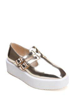 Square Toe Patent Leather Buckle Shoes - Golden 38