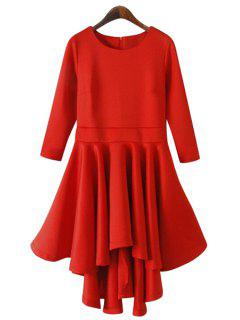 Solid Color 3/4 Sleeve Flouncing Dress - Red M