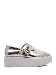 Square Toe Patent Leather Buckle Shoes - Silver 38