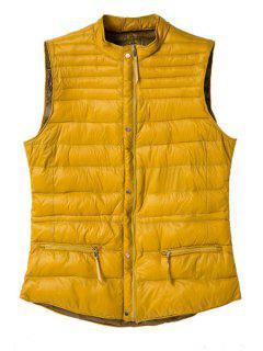 Stand Collar Solid Color Waistcoat - Yellow L