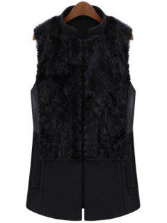 Faux Fur Splicing Waistcoat - Black L