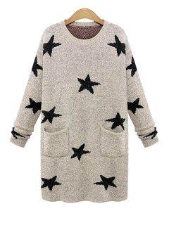 Long Sleeve Star Pattern Sweater - Khaki