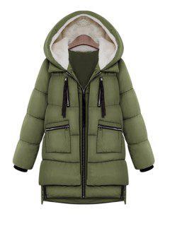 Hooded Solid Color Zipper Coat - Army Green 3xl