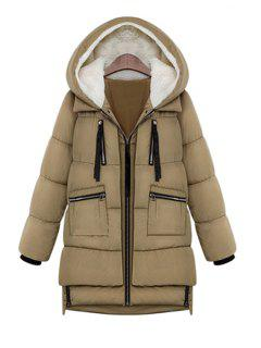 Hooded Solid Color Zipper Coat - Khaki 3xl