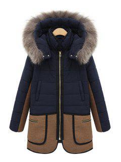 Faux Fur Hooded Color Block Coat - Blue 2xl