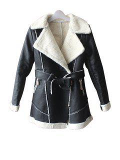 Lamb Wool Splicing PU Leather Coat - Apricot Xl