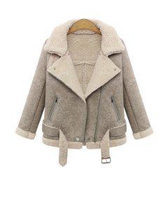 Lapel Lamb Wool Splicing Jacket - Khaki Xl