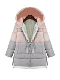 Hooded Color Block Zipper Coat - Pink L