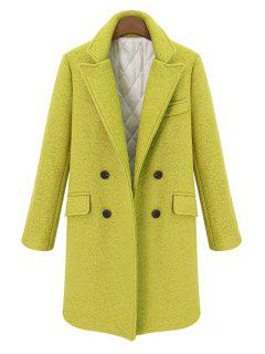 Double-Breasted Lapel Worsted Coat - Yellow M