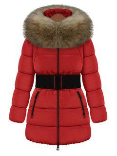 Faux Fur Collar Solid Color Belt Coat - Red L