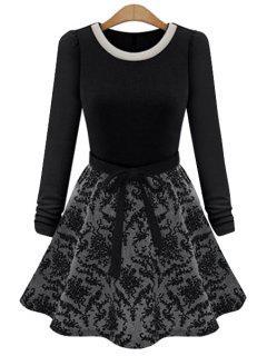 Floral Splicing Long Sleeve Dress - Black Xl