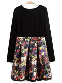 Butterfly Print Long Sleeve Dress - Black L