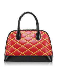 Color Block Checked Zipper Tote Bag - Red