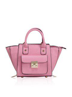 Rivets Hasp Solid Color Tote Bag - Pink