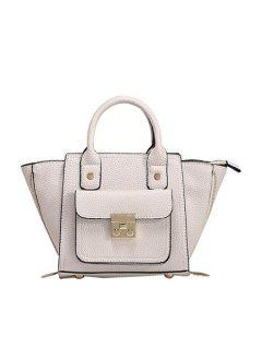 Rivets Hasp Solid Color Tote Bag - White