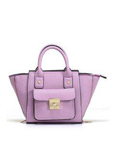 Rivets Hasp Solid Color Tote Bag - Purple