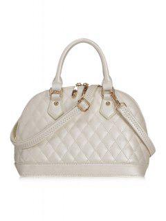Checked Shell Shape Tote Bag - White