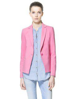 Solid Color Lapel One Button Blazer - Pink M