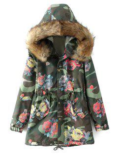 Floral Camouflage Print Hooded Coat - Army Green L