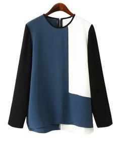 Color Block Zipper Back Blouse - L