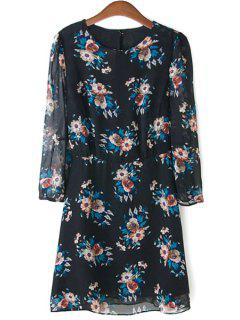 Floral Print Chiffon Shift Dress - Black S