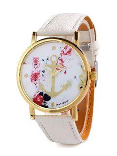 Anchor Design Printed Watch - White