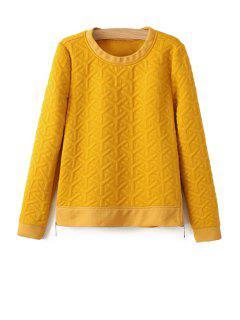 Solid Color Zipper Design Sweatshirt - Yellow L