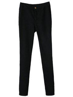 Solid Color Narrow Feet Pants - Black M