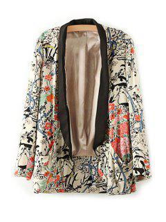 Floral Print Long Sleeve Blazer - L