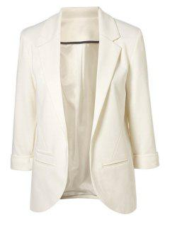 3/4 Sleeve Solid Color Blazer - White 38