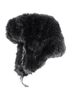 Solid Color Faux Fur Trapper Hat - Black L