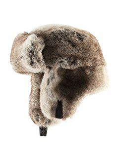 Solid Color Faux Fur Trapper Hat - Light Brown M