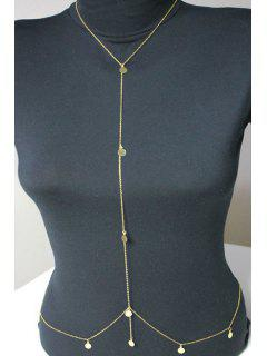 Infinite Sequins Embellished Body Chain - Golden