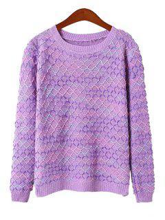 Argyle Knit Pattern Sweater - Purple