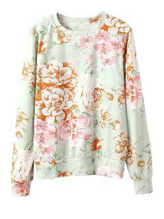 Letter And Floral Print Sweatshirt - Light Green L