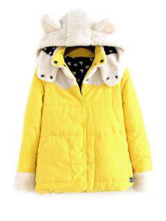 Hooded Lamb Wool Splicing Coat - Yellow M