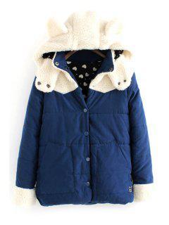 Hooded Lamb Wool Splicing Coat - Purplish Blue M