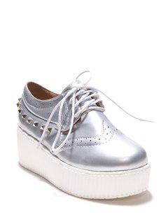 Rivets Hollow Out Platform Shoes - Silver 40