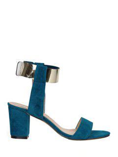 Suede Chunky Heel Metallic Sandals - Blue 37