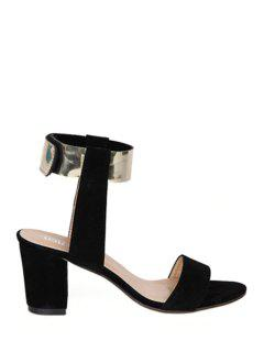 Suede Chunky Heel Metallic Sandals - Black 35